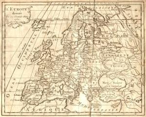 Carte d'Europe dressée en 1759 basée sur le méridien d'El Hierro.