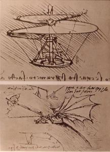 La vis aérienne (en haut), 1486, considérée comme la base de l'hélicoptère, et expérience sur la force de levage d'une aile (en bas).