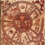 Mosaïque du ve siècle de la synagogue de Beth Alpha représentant les signes du zodiaque. [A]